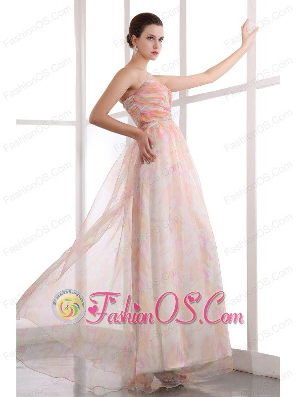 Colorful Sweetheart Prom Dress Ruch Printing Floor-length