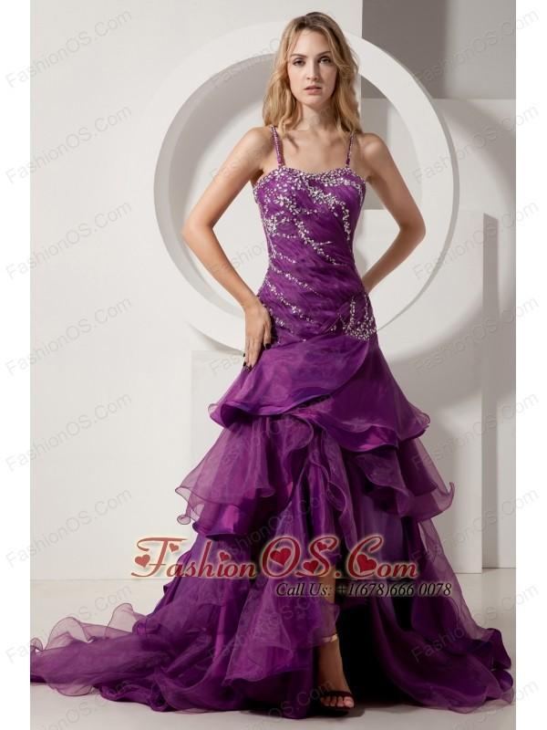Eggplant Purple A-line Spaghetti Straps Court Train Prom Dress ...