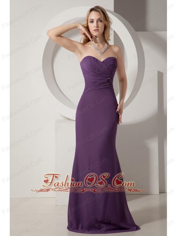 Dark Purple Junior Prom Dress Ruch Column Sweetheart Brush Train ...