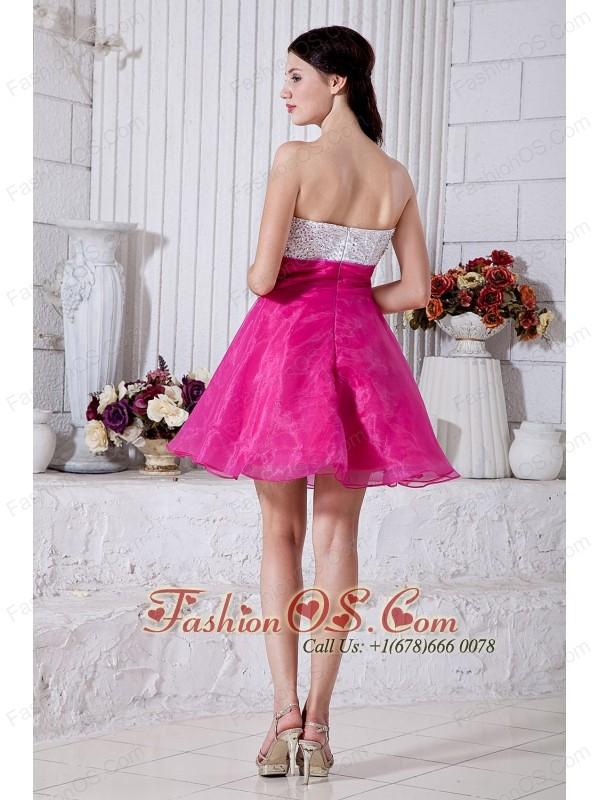 Hot Pink A-line Sweetheart Short Prom / Homecoming Dress Organza Beading Mini-length
