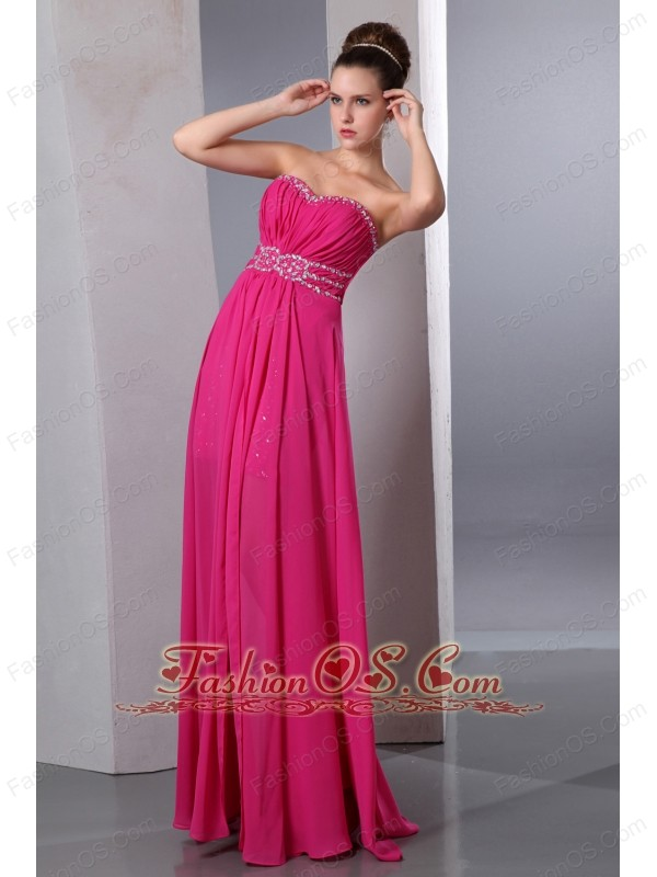 Hot Pink Column Sweetheart Prom Dress Floor-length Chiffon Beading ...