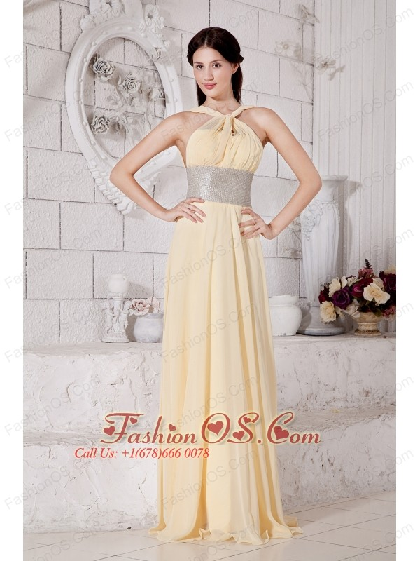 Light Yellow V-neck Chiffon Prom / Evening Dress With Silver Belt ...