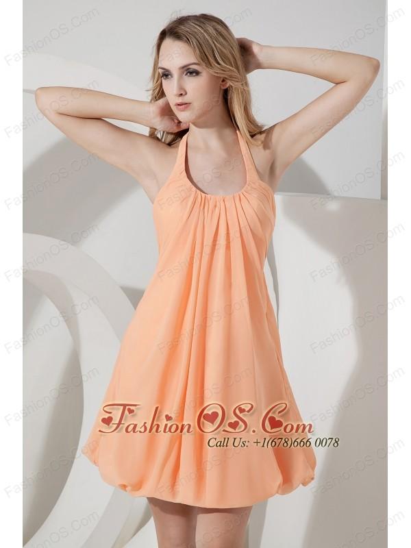 Orange Junior Prom Dress Ruch A-line / Princess Halter Mini-length Chiffon