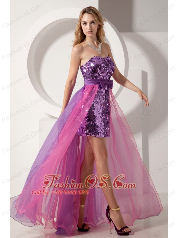 Purple and Pink Column Strapless Prom Dress High-low Sequin and ...