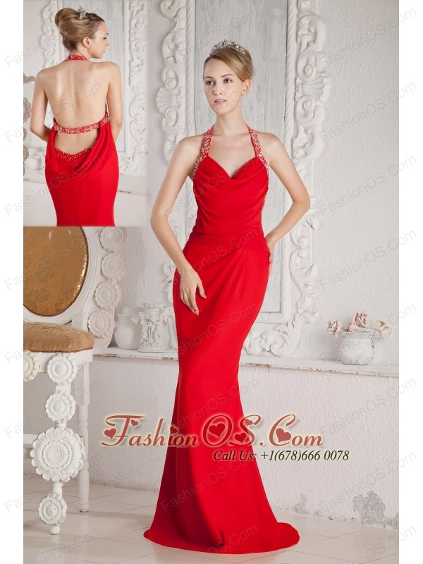 Red Halter Mermaid Dress