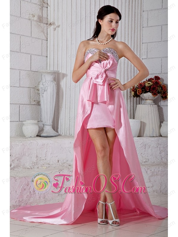 Rose Pink Empire Beading Sweetheart Prom / Evening Dress High-low ...