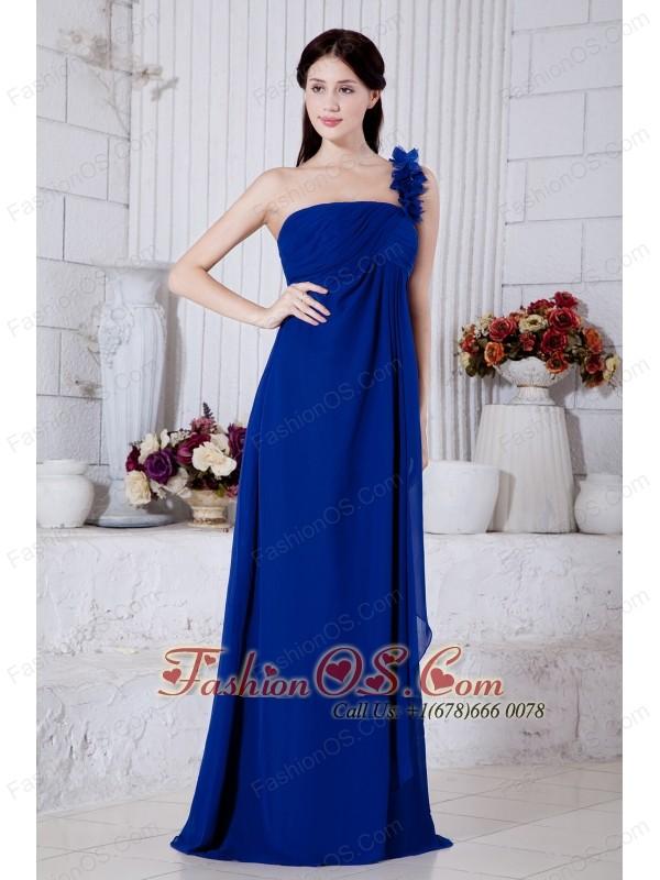 royal blue one shoulder floor length prom dresses