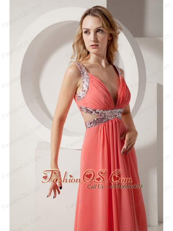Rust Red Empire V-neck Prom Dress Sequins Chiffon Floor-length