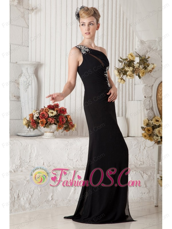 Sexy Black One Shoulder Chiffon Prom Dress Empire Brush Train Beading