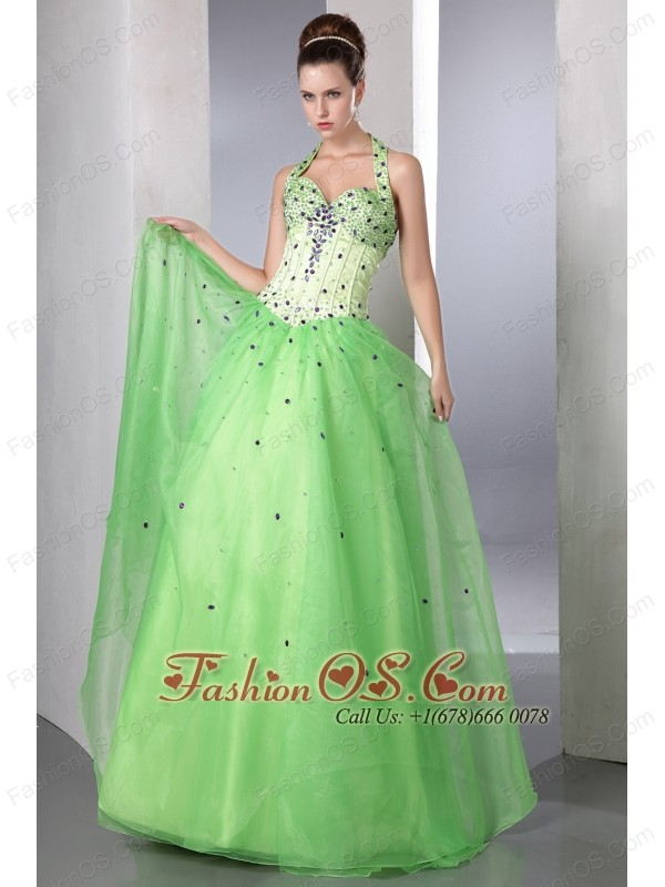 Spring Green A-line Halter Prom Dress Satin and Organza Beading Floor-length