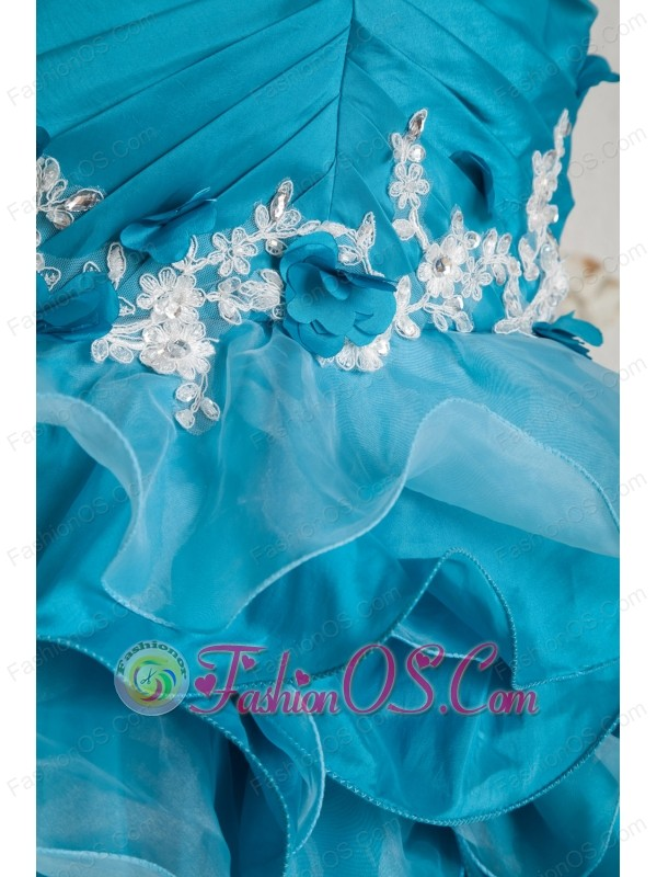 Teal Mermaid One Shoulder Ruch and Appliques Prom Dress High-low Organza