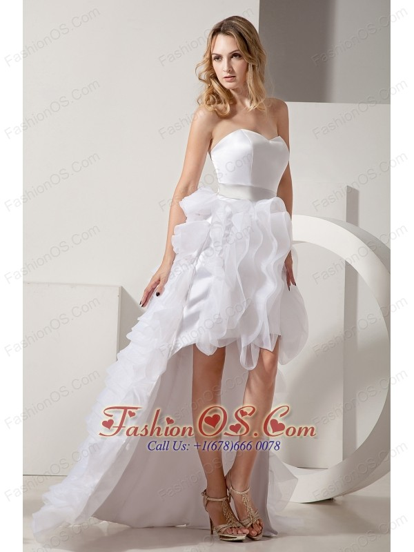White A-line Sweetheart High-low Prom Dress Satin and Organza ...