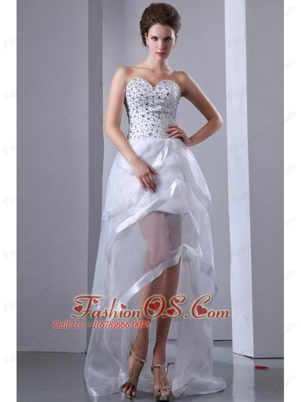 White A-line Sweetheart Prom Dress High-low Organza Beading- $149.59