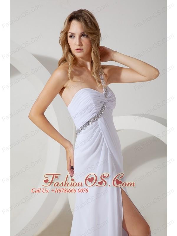 White Empire One Shoulder Beading Prom / Evening Dress Brush Train Chiffon