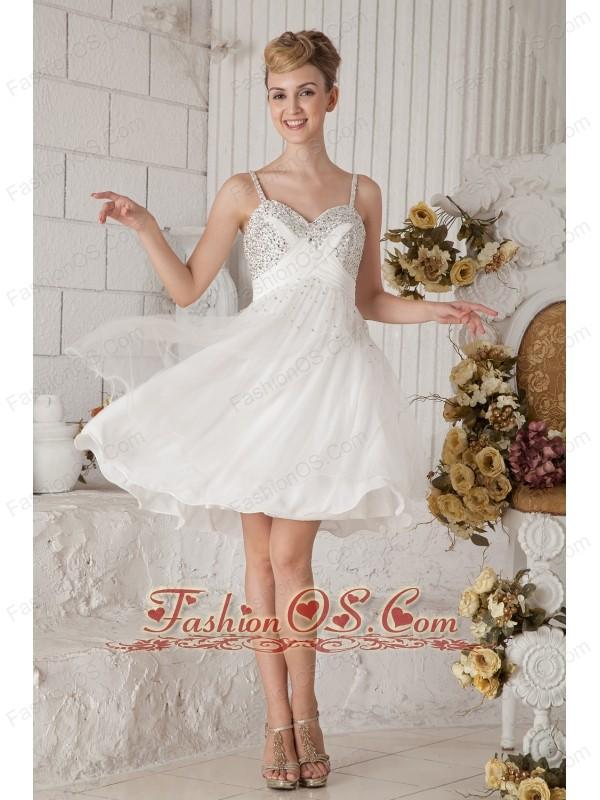 White Spaghetti Strap Short Prom Dresses
