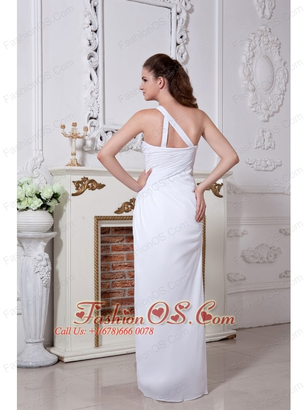 White Prom Dress Column / Sheath One Shoulder Floor-length Chiffon Ruch
