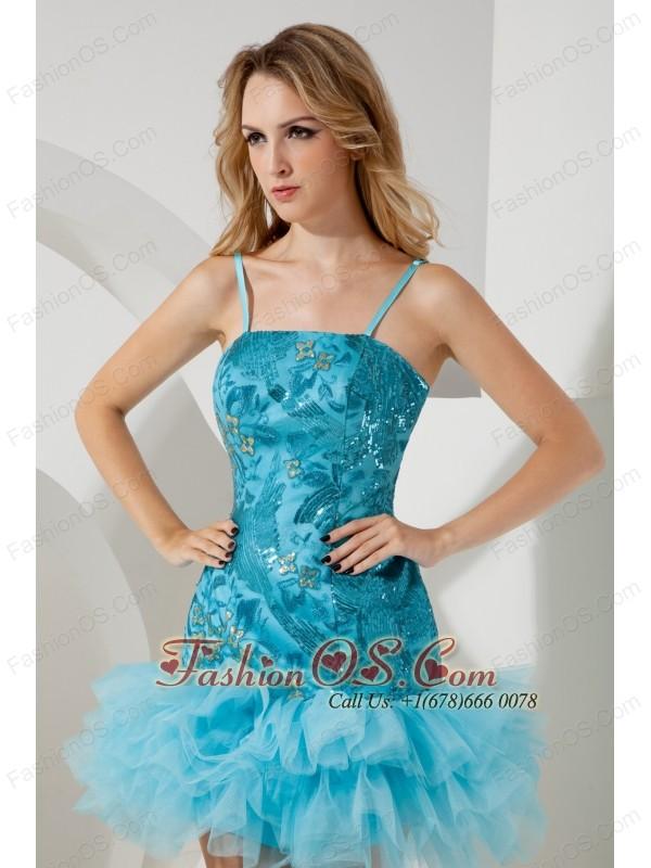Aqua Blue A-line / Princess Straps Short Prom / Homecoming Dress Mini-length Tulle and Sequin