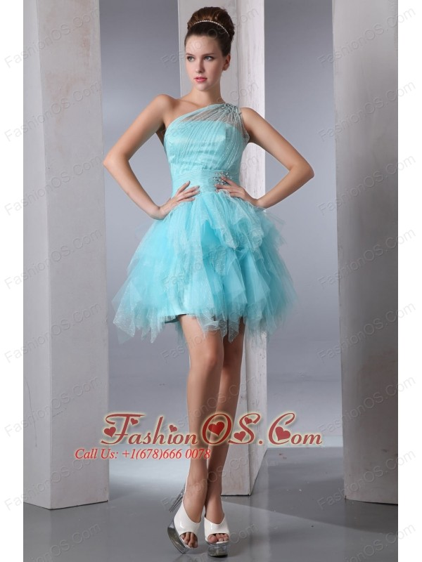 Aqua Blue Column One Shoulder Short Prom Dress Asymmetrical ...