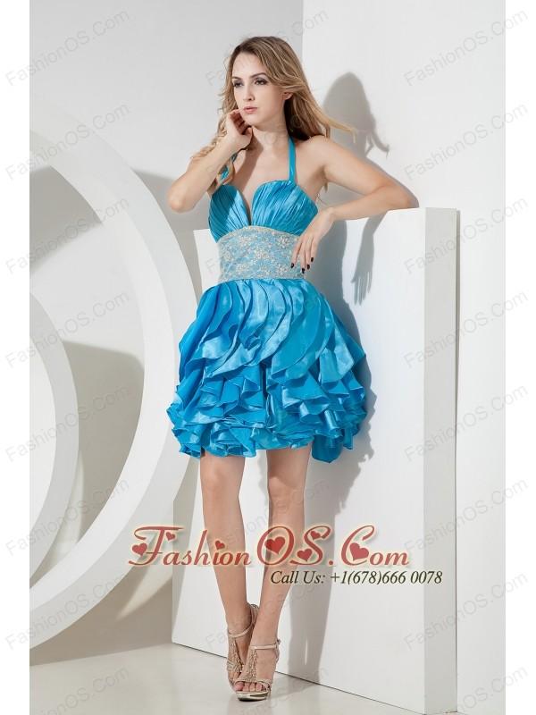 Baby Blue Column Halter Lace Short Prom Dress Mini-lengrh Taffeta ...