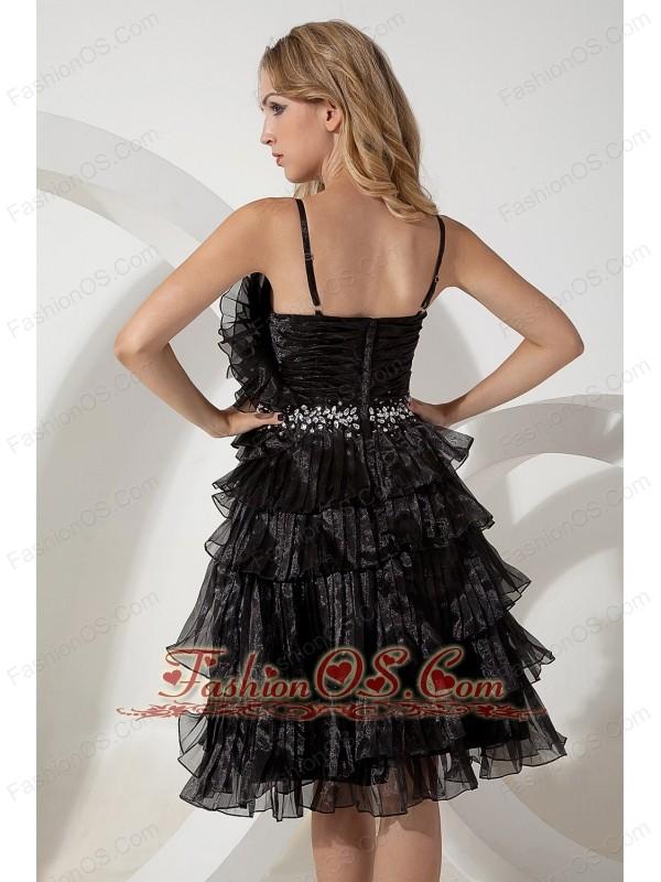 Black A-line / Princess Straps Beading Short Prom / Homecoming Dress Knee-length Organza