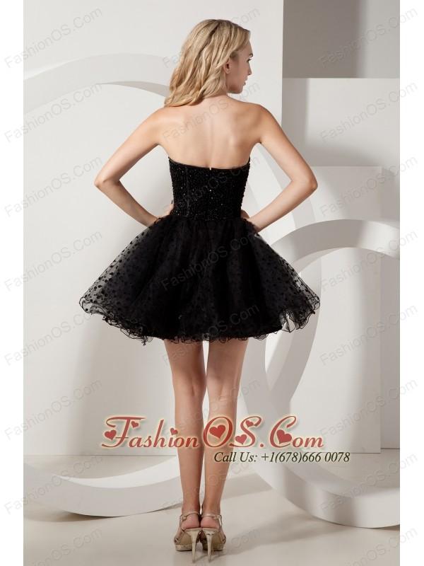 Black A-line Strapless Beading Short Prom Dress Mini-length Organza