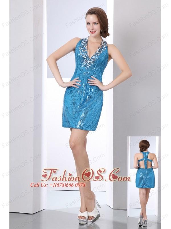 Baby Blue Column V-neck Short Prom Dress Sequin Sequins Mini-length