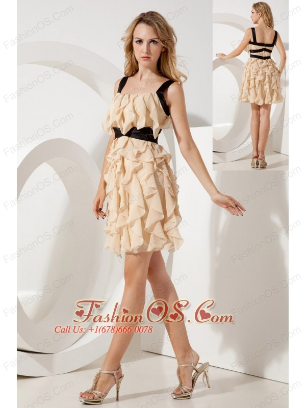 Champagne Empire Straps Ruffles Short Prom / Homecoming Dress Mini ...