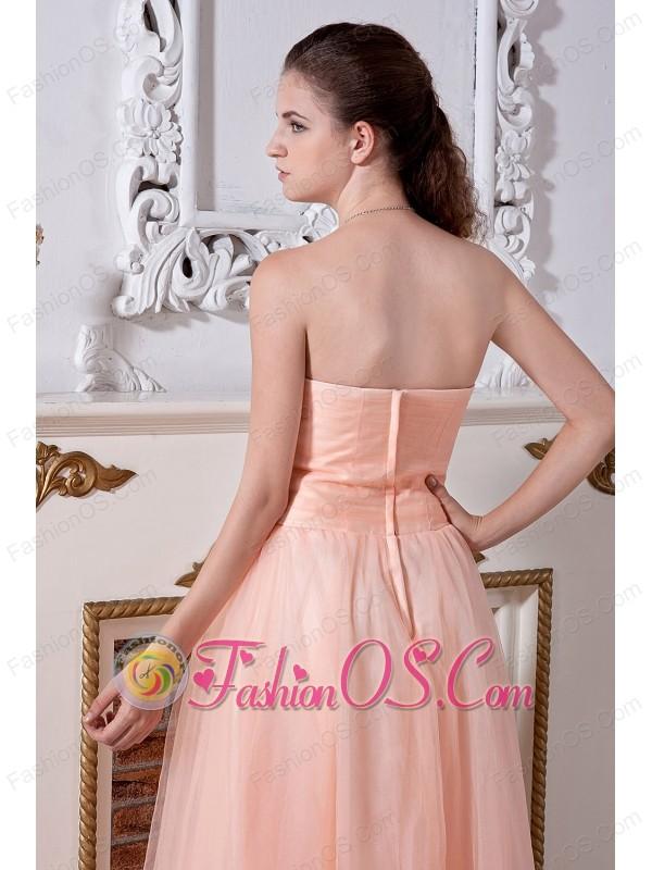 Light Peach Prom Dress Empire Sweetheart Tulle Beading- $137.48