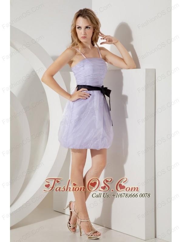 Lilac Column Straps Short Prom / Homecoming Dress  Mini-length Organza Sashes