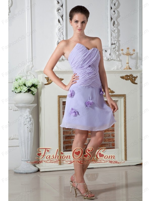 Lilac Empire Sweetheart Prom Dress Knee-length Chiffon Ruch Hand Made Flowers