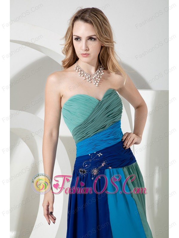 strapless sweetheart green blue chiffon multi colored floor length dress