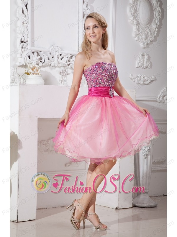 Pink A-line Strapless Short Prom Dress Taffeta and Organza Beading ...