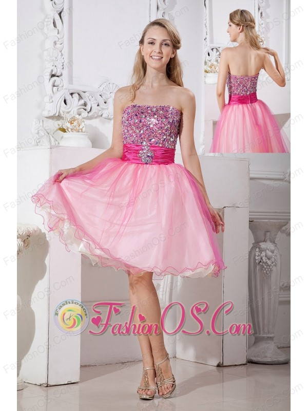 Pink A-line Strapless Short Prom Dress Taffeta and Organza Beading ...