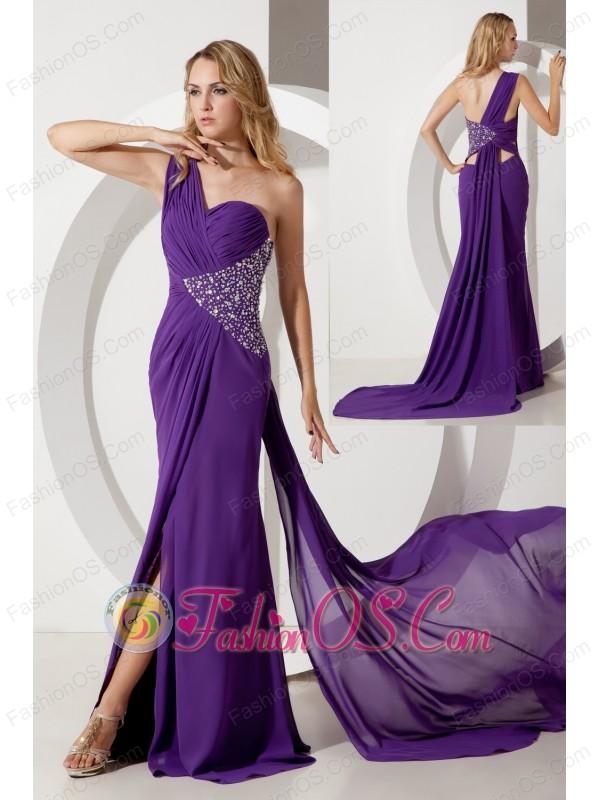 Purple Column One Shoulder Beading Prom Dress Watteau Train Chiffon ...