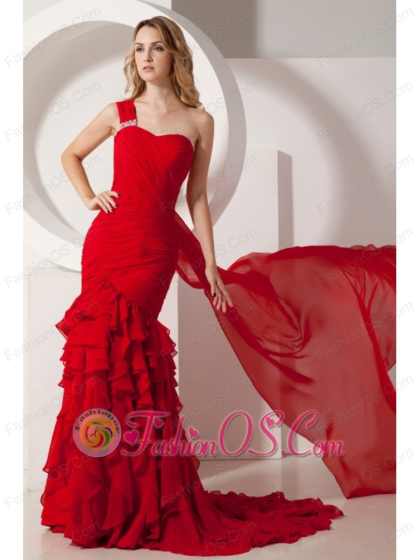 Red Mermaid Watteau Ruffles Prom Dress One Shoulder Train Chiffon ...