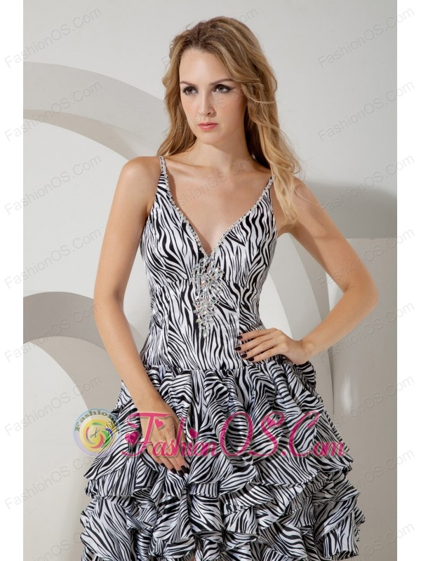 Sexy Straps Mini-length Zebra Print Short Prom / Homecoming Dress ...
