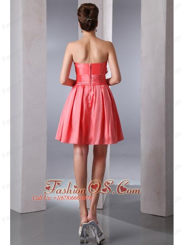 Watermelon Red A-line Strapless Short Prom Dress Taffeta Beading Mini-length