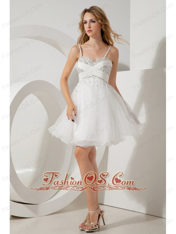 White A-line / Princess Straps Beading Short Prom / Homecoming ...