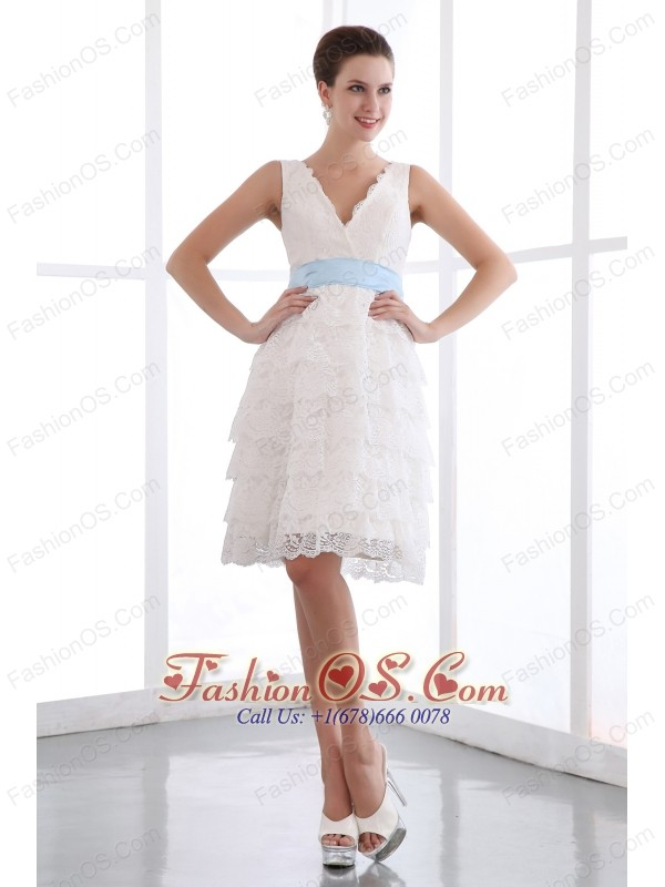 White A-line V-neck Short Prom Dress Lace Sash Mini-length- $127.89