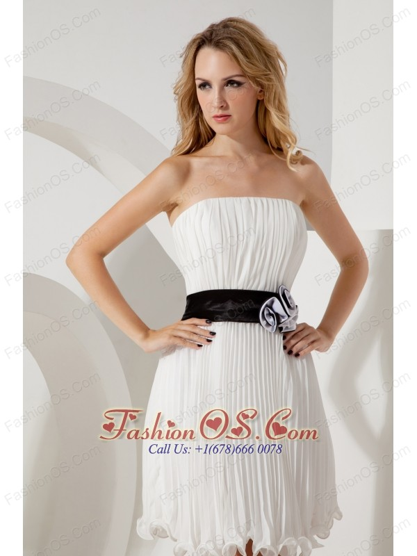 White Empire Strapless Short Prom / Homecoming Dress Mini-length Organza Belt
