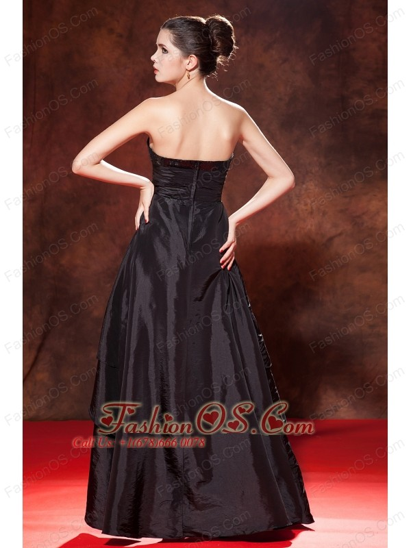 Beautiful Black A-line / Princess High-low Prom Dress Strapless Taffeta Sequins