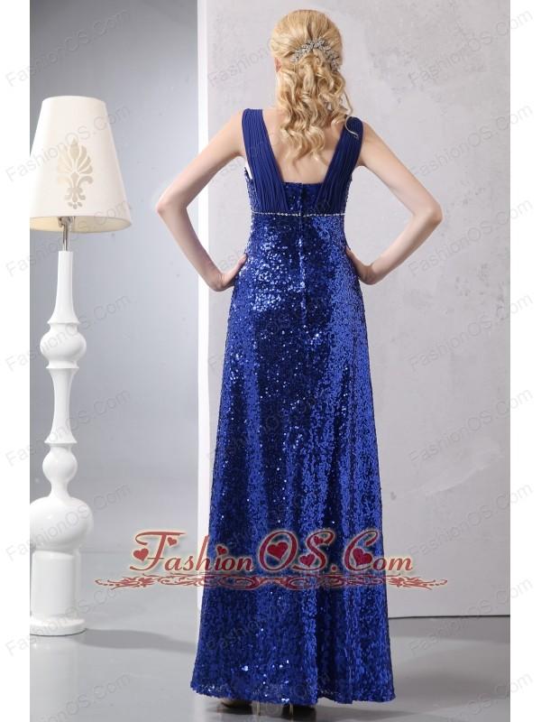 Beautiful Blue Prom Dress Column Straps Ankle-length Sequin Sequins
