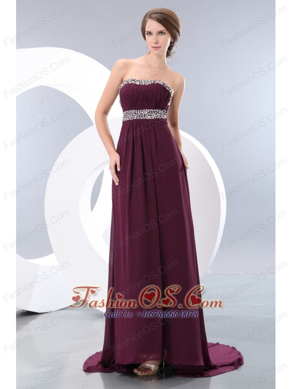 Beautiful Dark Purple Prom / Evening Dress Strapless Brush Train Chiffon Beading Empire