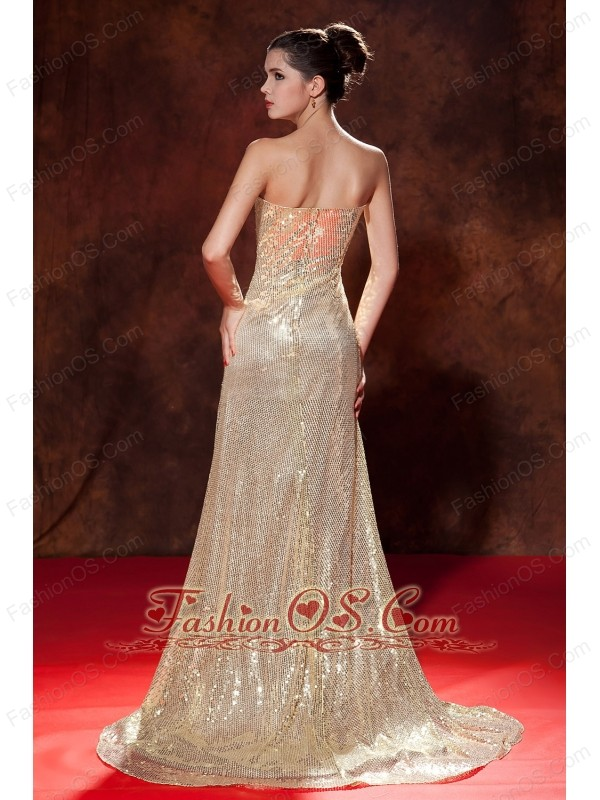 sweetheart champagne chiffon floor length gold gown