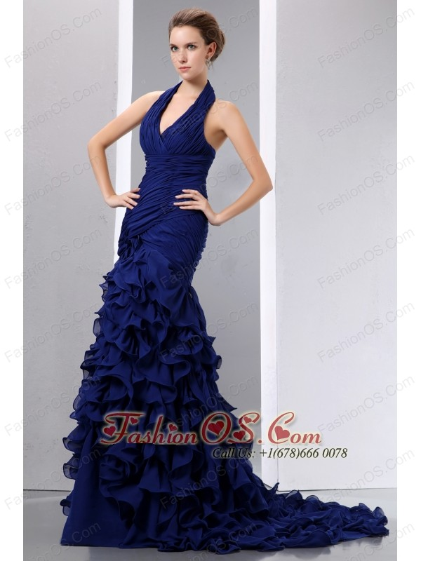 Navy Blue Mermaid Halter Prom Dress Court Train Chiffon Ruch and ...