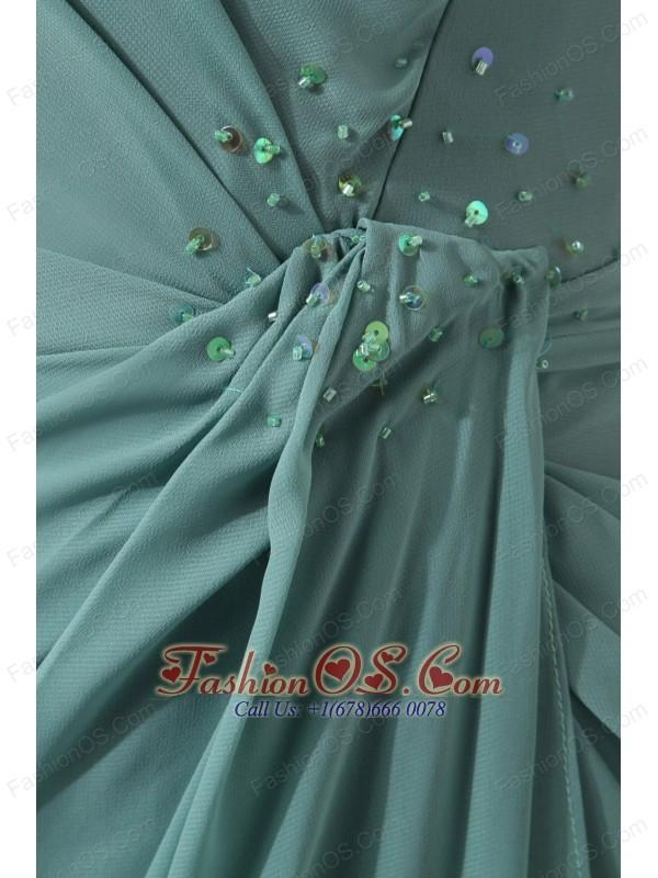 Cheap Lemon Green Sweetheart Floor-length Bridesmaid Dress Column Chiffon Sequins