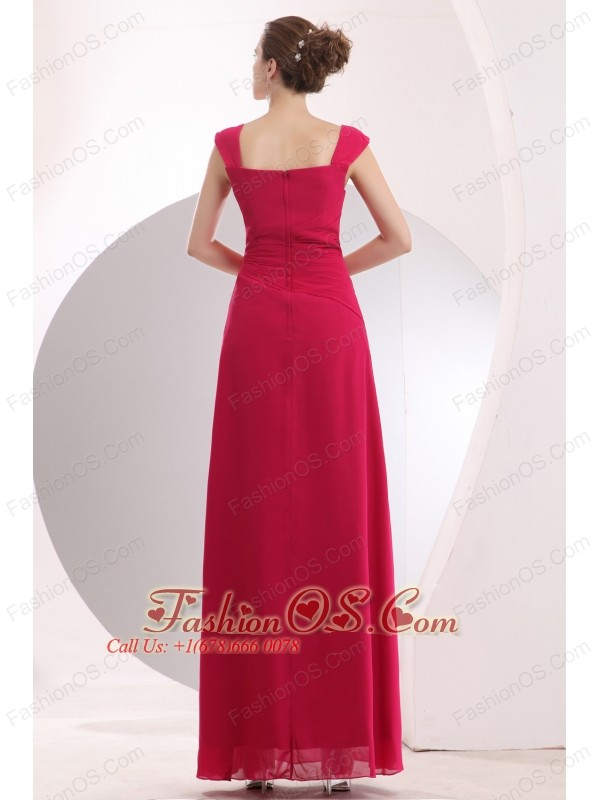 Coral Red Hot Pink Prom / Evening Dress Empire Straps Floor-length Chiffon Beading