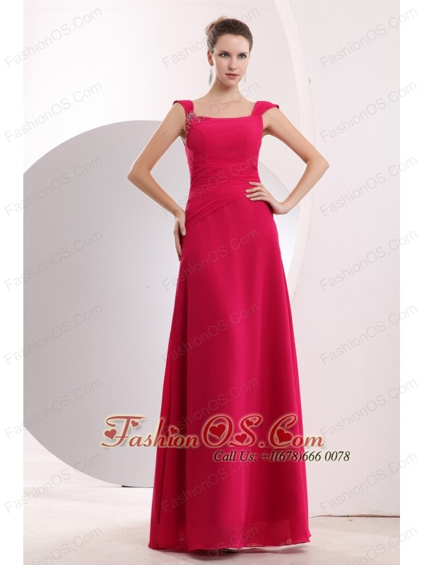 Cheap Hot Pink Straps Beading Bridesmaid Dress Empire Floor-length Chiffon