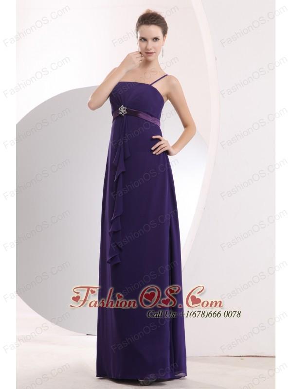Cheap Purple Straps Sashes Bridesmaid Dress Empire Floor-length Chiffon