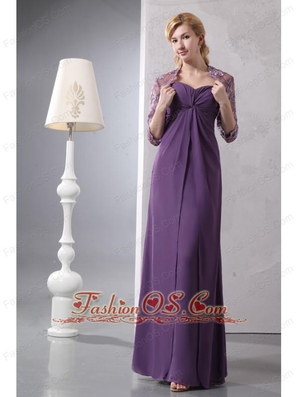Cheap Purple Sweetheart Ankle-length Bridesmaid Dress Column Chiffon Ruch